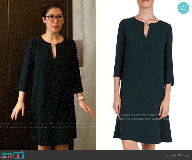 Gerard Darel Donatella Keyhole Shift Dress worn by Sherri Kansky (Ruthie Ann Miles) on All Rise
