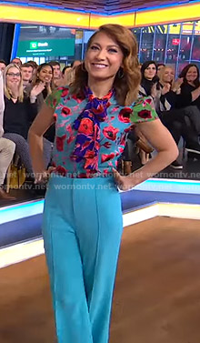 Ginger's floral tie neck top and blue pants on Good Morning America