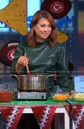 Ginger's green ruched leather dress on Good Morning America