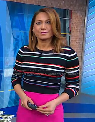 Ginger's multicolor striped sweater on Good Morning America