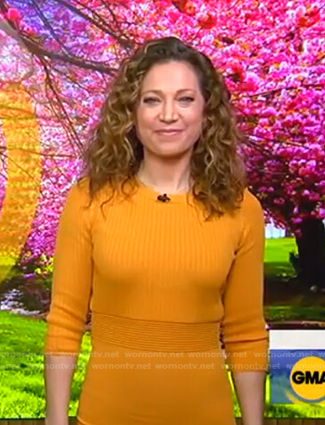 Ginger's yellow knit midi dress on Good Morning America