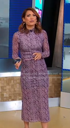 Ginger's purple snake print top and skirt on Good Morning America