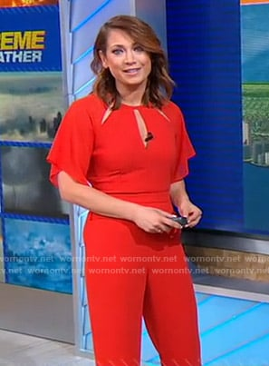 Ginger's red cutout jumpsuit on Good Morning America