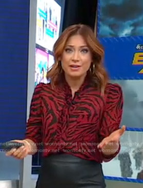 Ginger's red animal print blouse on Good Morning America