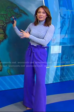 Ginger's pointelle sweater and purple wide-leg pants on Good Morning America