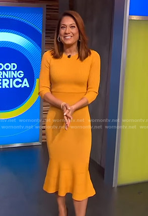 Ginger's yellow knit midi dress on Good Morning America