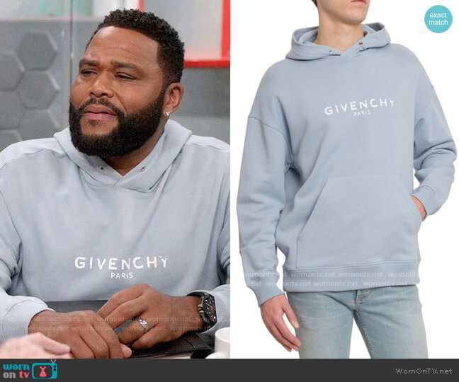 Givenchy Distressed Logo-Print Hoodie worn by Andre Johnson (Anthony Anderson) on Blackish