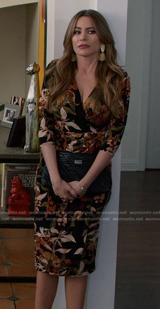 Gloria's jungle print wrap dress on Modern Family