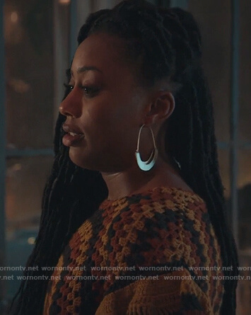 Malika's gold hoop earrings on Good Trouble