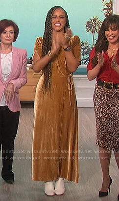 Eve's gold velvet maxi dress on The Talk