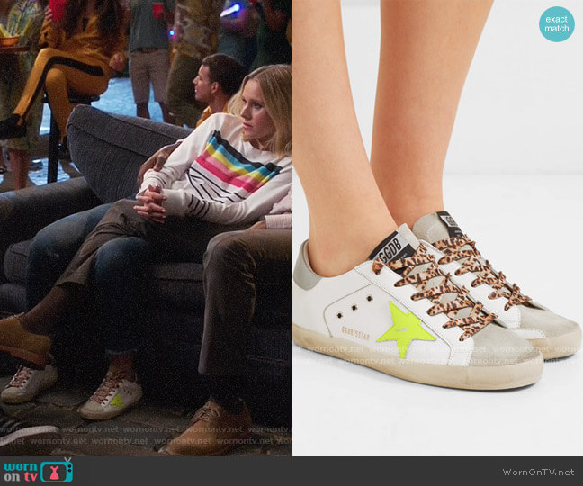 Golden Goose Superstar distressed neon-trimmed leather, suede and canvas sneakers worn by Eleanor Shellstrop (Kristen Bell) on The Good Place