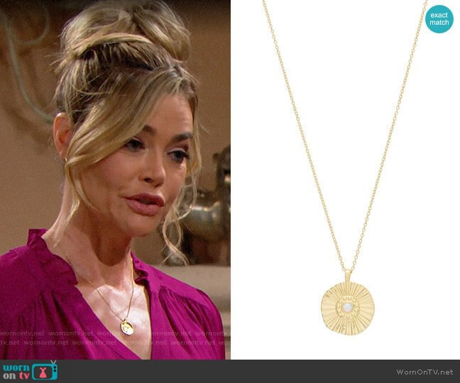 Gorjana Sunburst Coin Pendant Necklace worn by Shauna Fulton (Denise Richards) on The Bold & the Beautiful