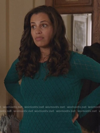 Grace's green pointelle sweater on Manifest
