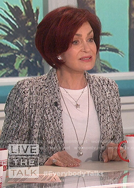 Sharon's gray tweed double breasted blazer on The Talk
