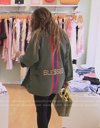 Melissa's green blessed jacket on The Real Housewives of New Jersey