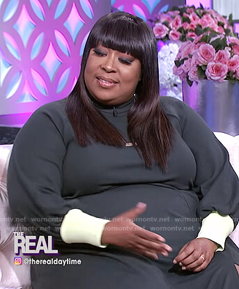 Loni's green dress with contrast cuffs on The Real