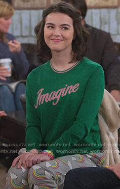 Hannah's green imagine sweater and rainbow pants on Alexa & Katie