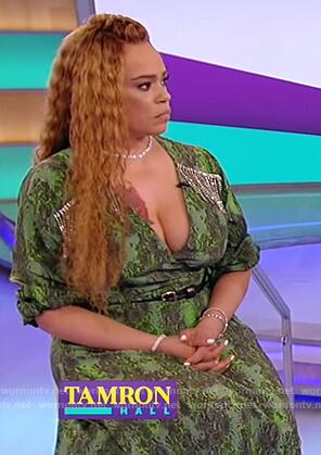 Faith Evan's green snakeskin print dress on Tamron Hall Show
