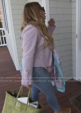 Dolores's green studded tote bag on The Real Housewives of New Jersey