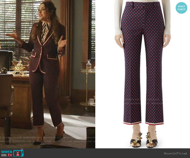 Geometric G Iconic Boot Cut Trousers by Gucci worn by Fallon Carrington (Elizabeth Gillies) on Dynasty