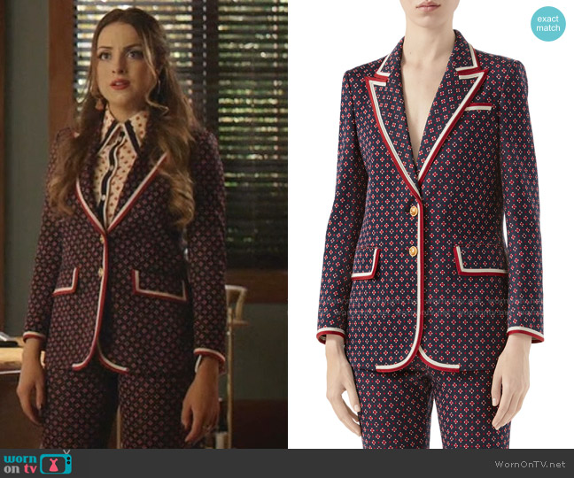 Geometric G Iconic Jersey Jacket by Gucci worn by Fallon Carrington (Elizabeth Gillies) on Dynasty