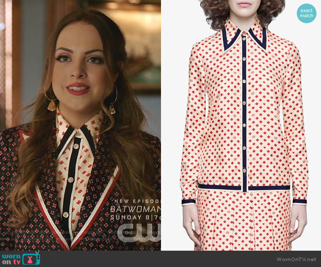Shirt with GG, Gearts and Clovers by Gucci worn by Fallon Carrington (Elizabeth Gillies) on Dynasty