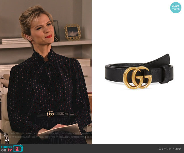 Thin Leather GG-Buckle Belt by Gucci worn by Mallory (Brooklyn Decker) on Grace & Frankie