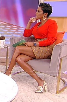 Tamron's mickey mouse print skirt on Tamron Hall Show
