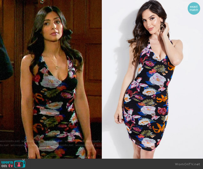 Guess Cassandrea Ruched Floral Dress worn by Gabi Hernandez (Camila Banus) on Days of our Lives