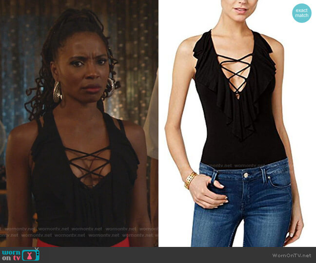 Sleeveless Half Moon Ruffle Bodysuit by Guess worn by Veronica Fisher (Shanola Hampton) on Shameless