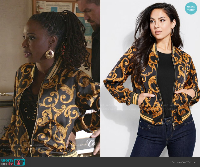 Rae Bomber Jacket by Guess  worn by Veronica Fisher (Shanola Hampton) on Shameless