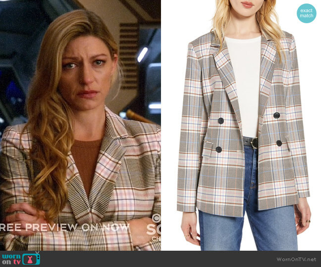 Halogen Plaid Double-Breasted Blazer worn by Ava Sharpe (Jes Macallan) on Legends of Tomorrow