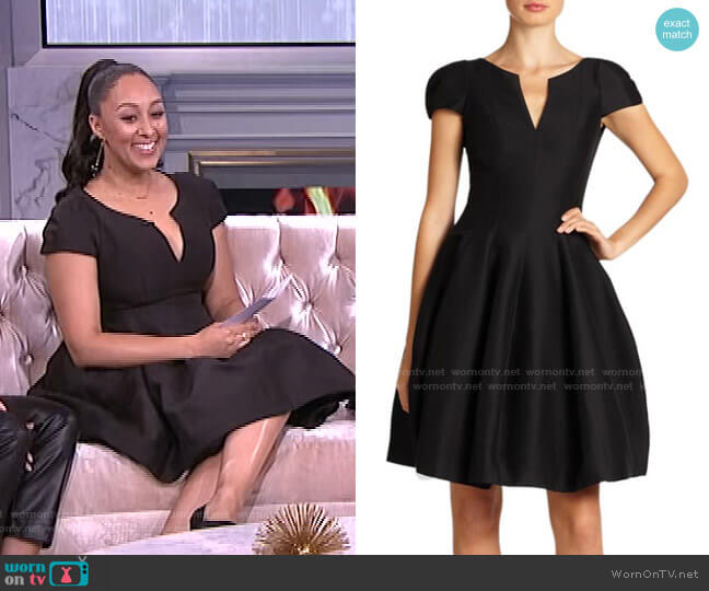 Cotton & Silk Cocktail Dress by Halston worn by Tamera Mowry  on The Real