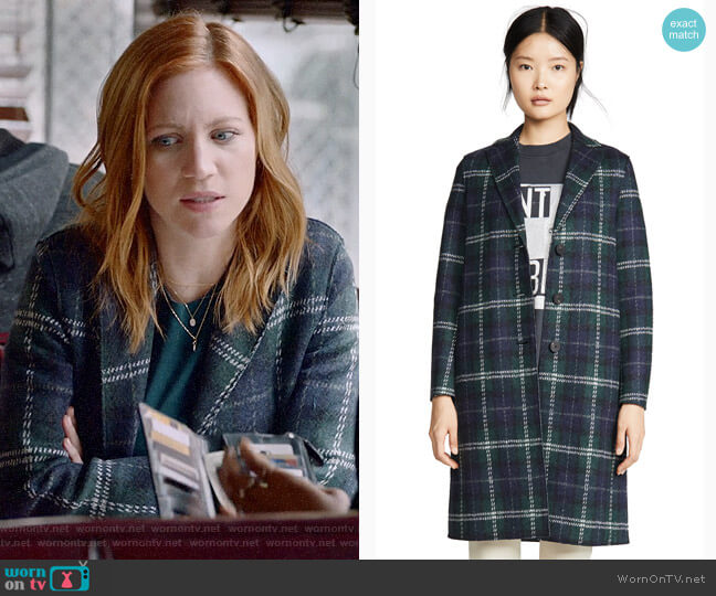 Harris Wharf London Tartan Overcoat worn by Julia Bechley (Brittany Snow) on Almost Family