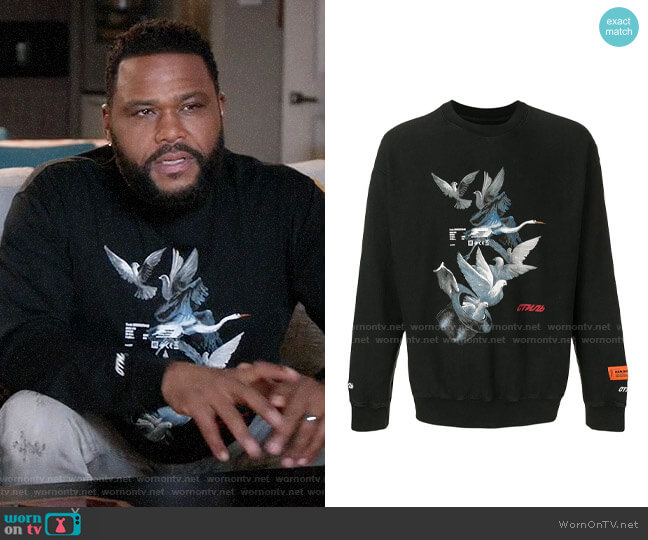Heron Preston Dove Printed Sweatshirt worn by Andre Johnson (Anthony Anderson) on Blackish