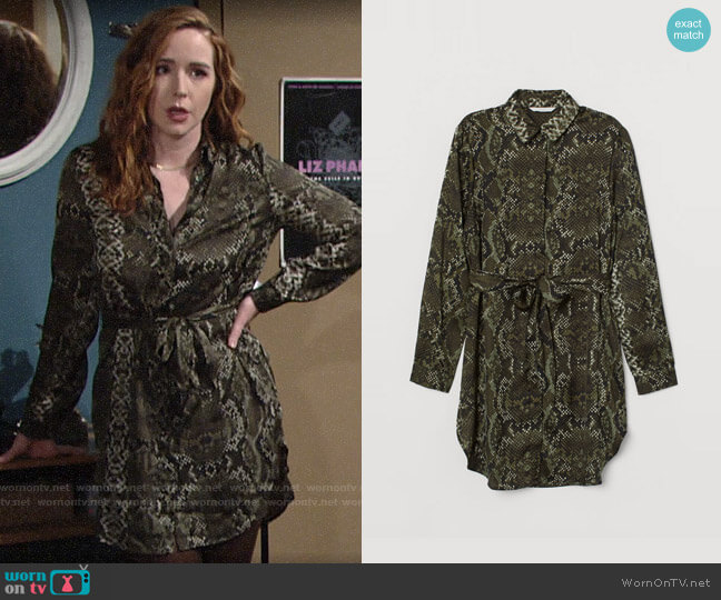 H&M Dark green/snakeskin-patterned Blouse with Tie Belt worn by Mariah Copeland (Camryn Grimes) on The Young & the Restless