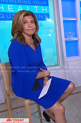 Hoda's blue contrast bell sleeve dress on Today