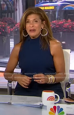 Hoda's navy mock neck jumpsuit on Today