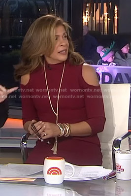 Hoda's red cold-shoulder dress on Today