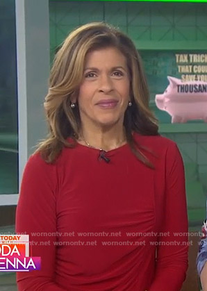 Hoda's red ruched side top on Today