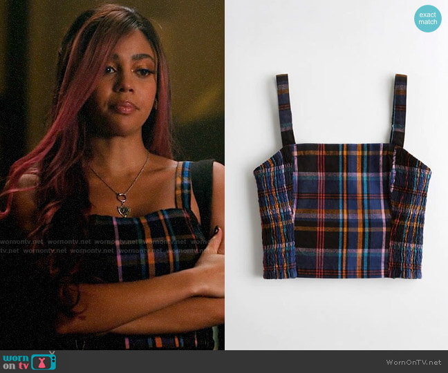 Hollister Plaid Square Neck Crop Top worn by Toni Topaz (Vanessa Morgan) on Riverdale