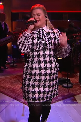 Kelly's houndstooth dress and blouse on The Kelly Clarkson Show