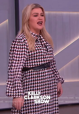 Kelly's houndstooth tie neck dress on The Kelly Clarkson Show