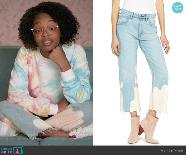 Hudson Sloane Mid-Rise Bleached Straight Crop Jeans worn by Diane Johnson (Marsai Martin) on Blackish