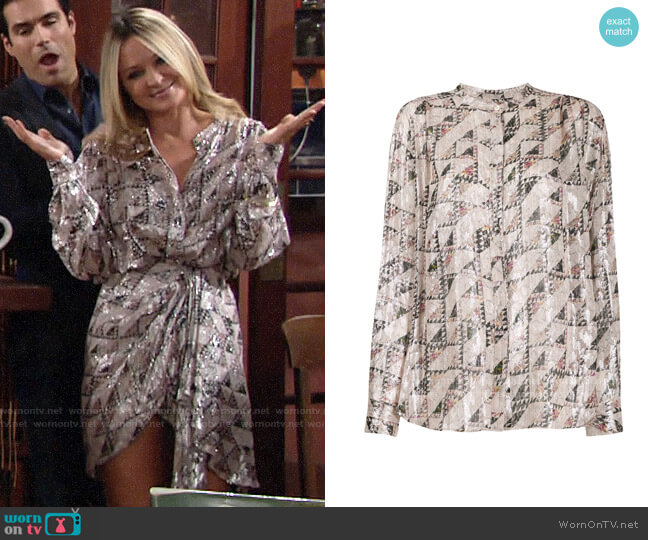 Isabel Marant Geometric Print Blouse worn by Sharon Collins (Sharon Case) on The Young & the Restless