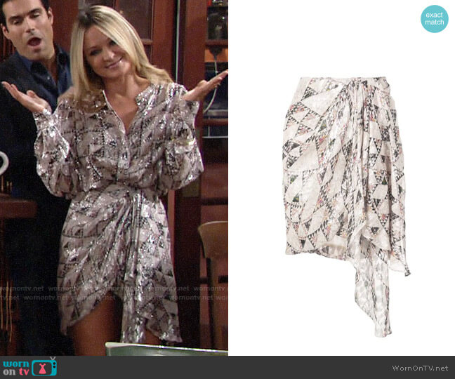 Isabel Marant Knotted Side Skirt worn by Sharon Collins (Sharon Case) on The Young & the Restless