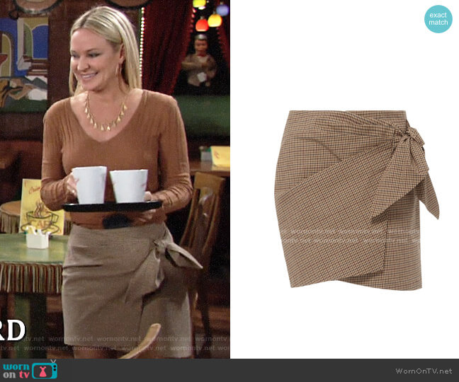 Etoile Isabel Marant Ninon Check Wrap Skirt worn by Sharon Collins (Sharon Case) on The Young & the Restless