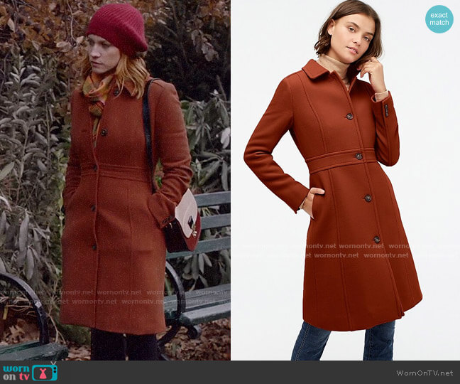 J. Crew Classic Lady Day Coat in Deep Redwood worn by Julia Bechley (Brittany Snow) on Almost Family