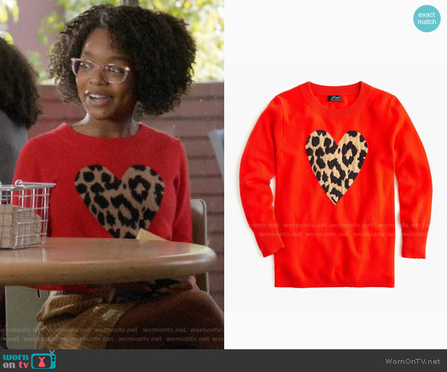 J. Crew Everyday cashmere crewneck sweater with leopard heart worn by Diane Johnson (Marsai Martin) on Blackish