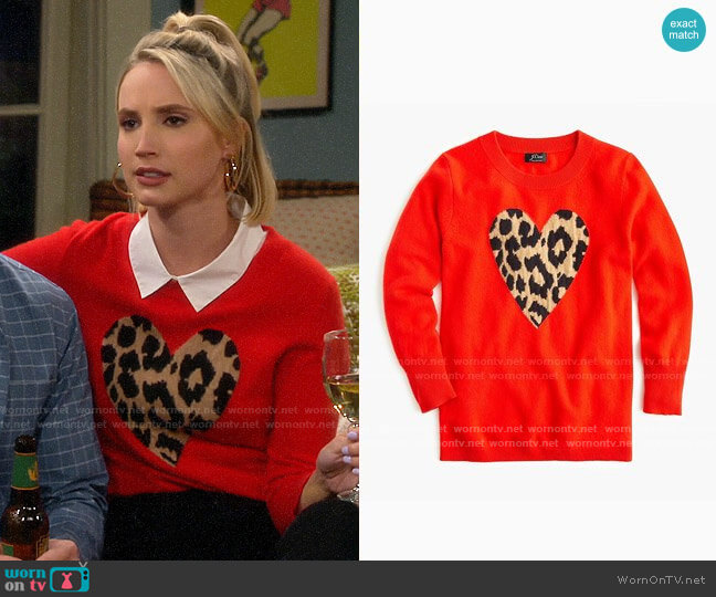 J. Crew Everyday cashmere crewneck sweater with leopard heart by J. Crew worn by Mandy Baxter (Molly McCook) on Last Man Standing